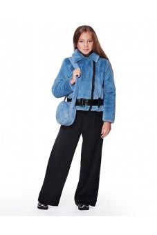 Куртка из меха с лаковым поясом