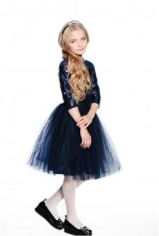 Пышное платье-сетка с пайетками