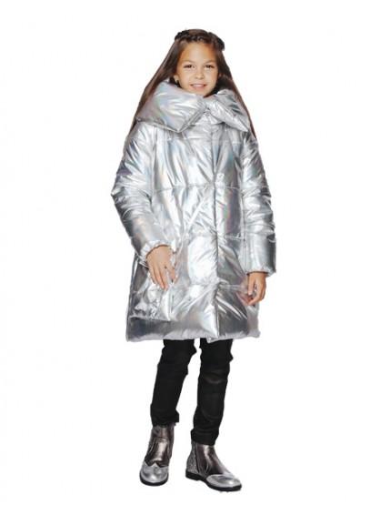 Пальто стеганое со звездой (серебро)