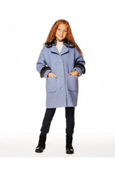 Пальто с мехом (голубое)