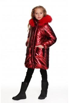 Пальто красный металлик