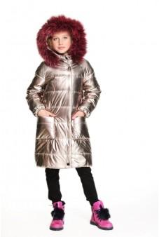 Пальто стёганое с мехом