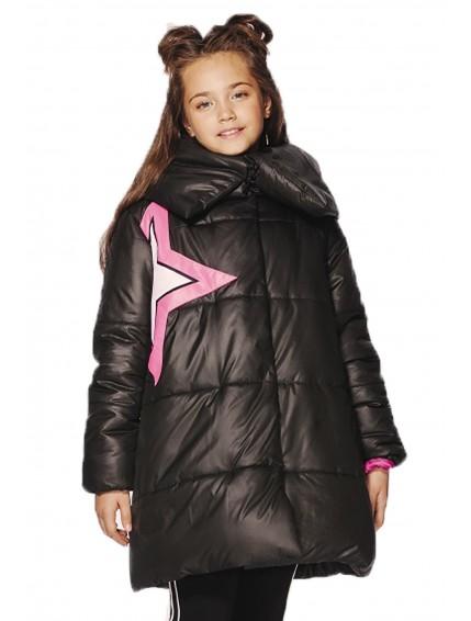 Пальто стеганое со звездой (чёрное)