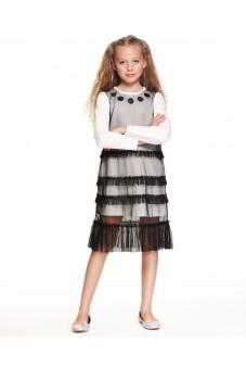 Платье-сетка с рюшами