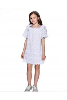 Платье с бантами и рюшами
