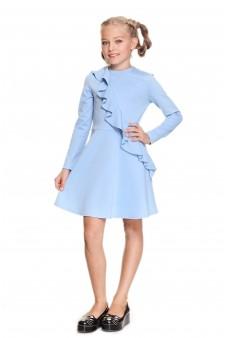 Платье с воланом голубое