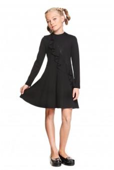 Платье с воланом чёрное
